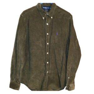 Ralph lauren corduroy olive button down shirt